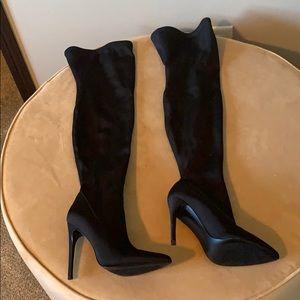Thigh high black stretch boot